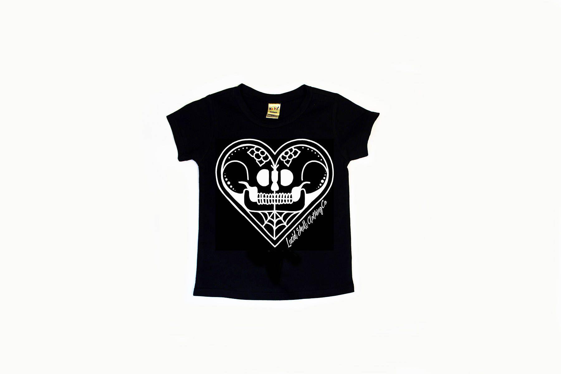 kissing skulls halloween tee tattoo inspired tee toddler tshirt