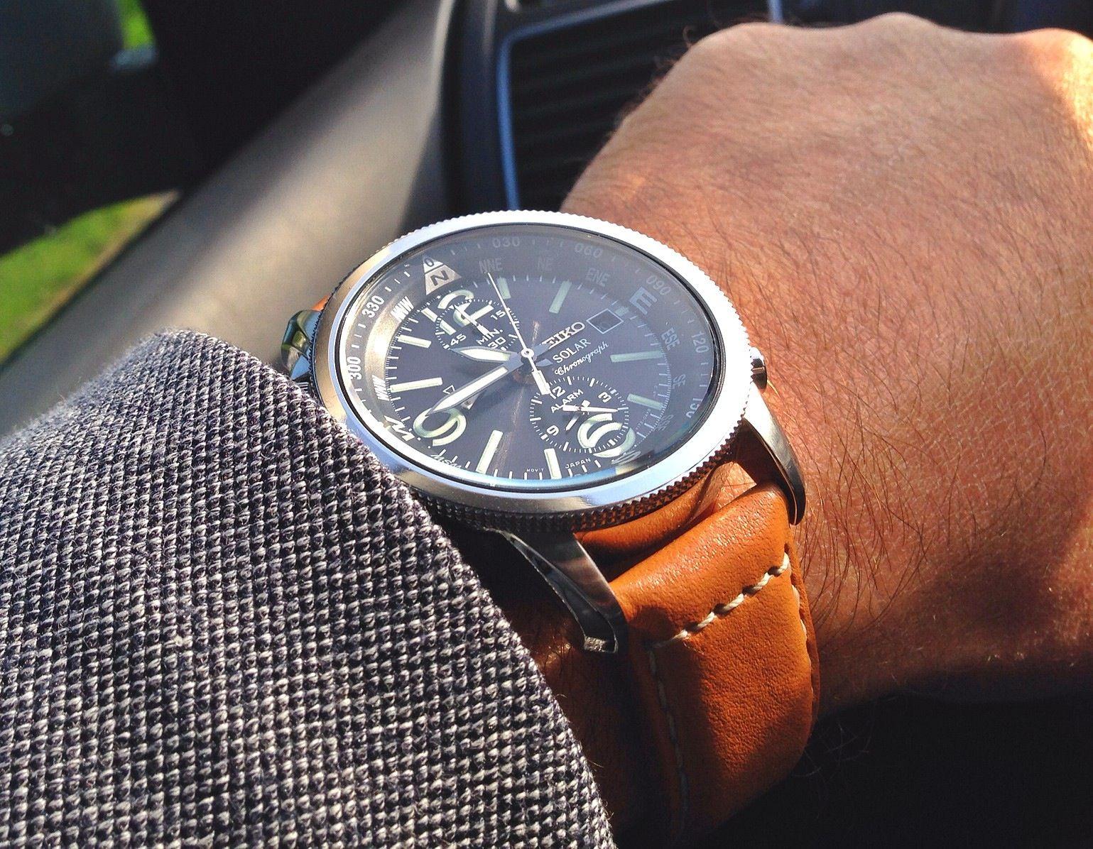 watches men montre homme seiko solar chronograph cuir camel ssc081p1 montres pinterest. Black Bedroom Furniture Sets. Home Design Ideas