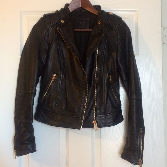3592cbe5 Zara lamb leather moto jacket /rose gold hardware Beautiful soft leather  jacket with rose gold /copper hardware. Only worn a few times.