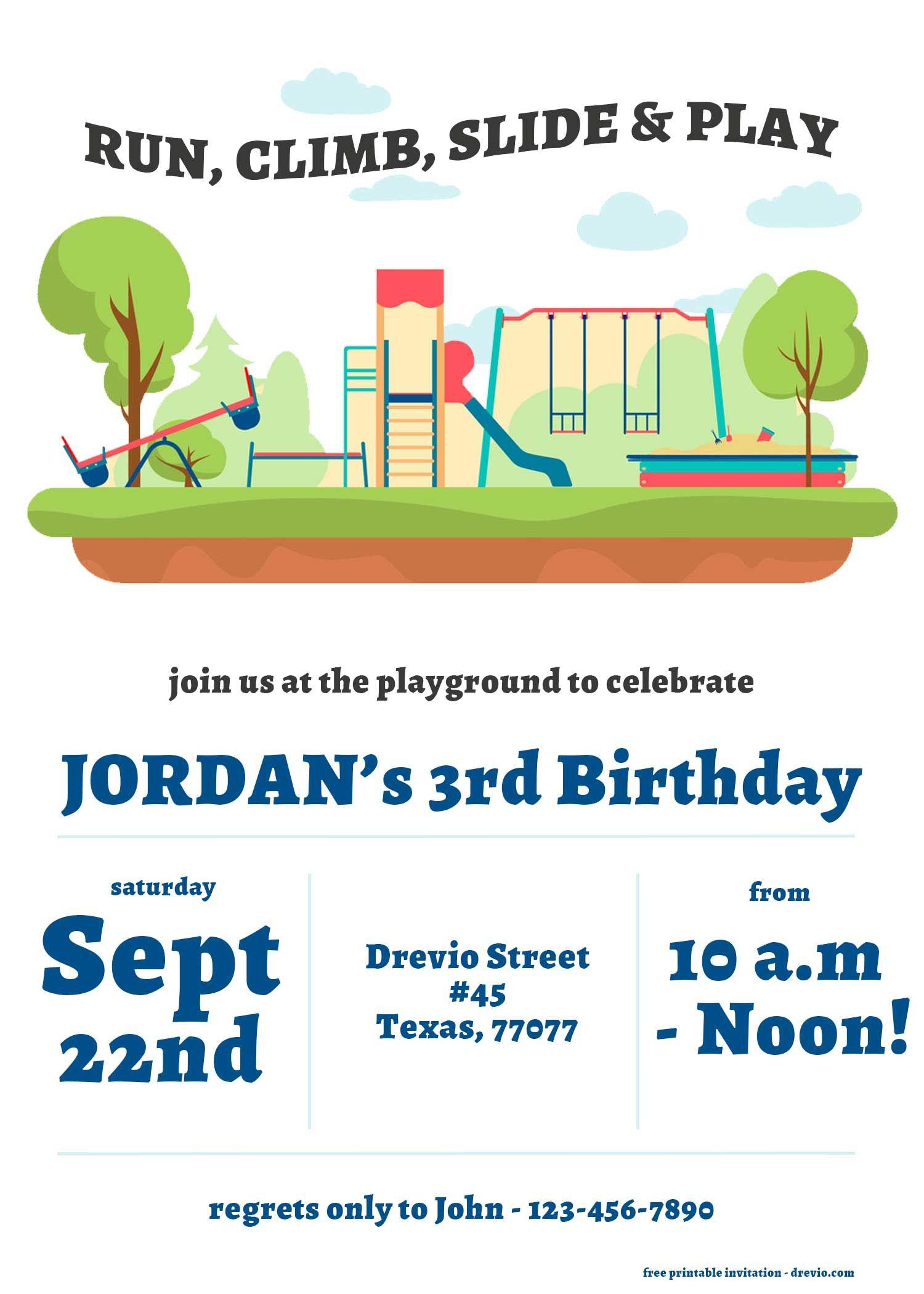Free Playground Run Climb Slide And Play Invitation Templates Free Printable Birthday Invitations Playground Birthday Parties Park Birthday