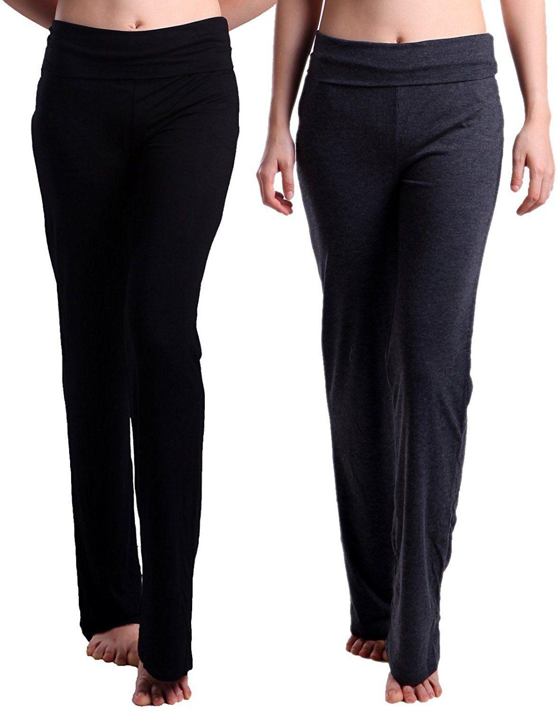 959dd4029335b6 HDE Women's Maternity Yoga Pants Fit & Flare Foldover Pregnancy Leggings  2-Pack (Black & Charcoal Gray) at Amazon Women's Clothing store: