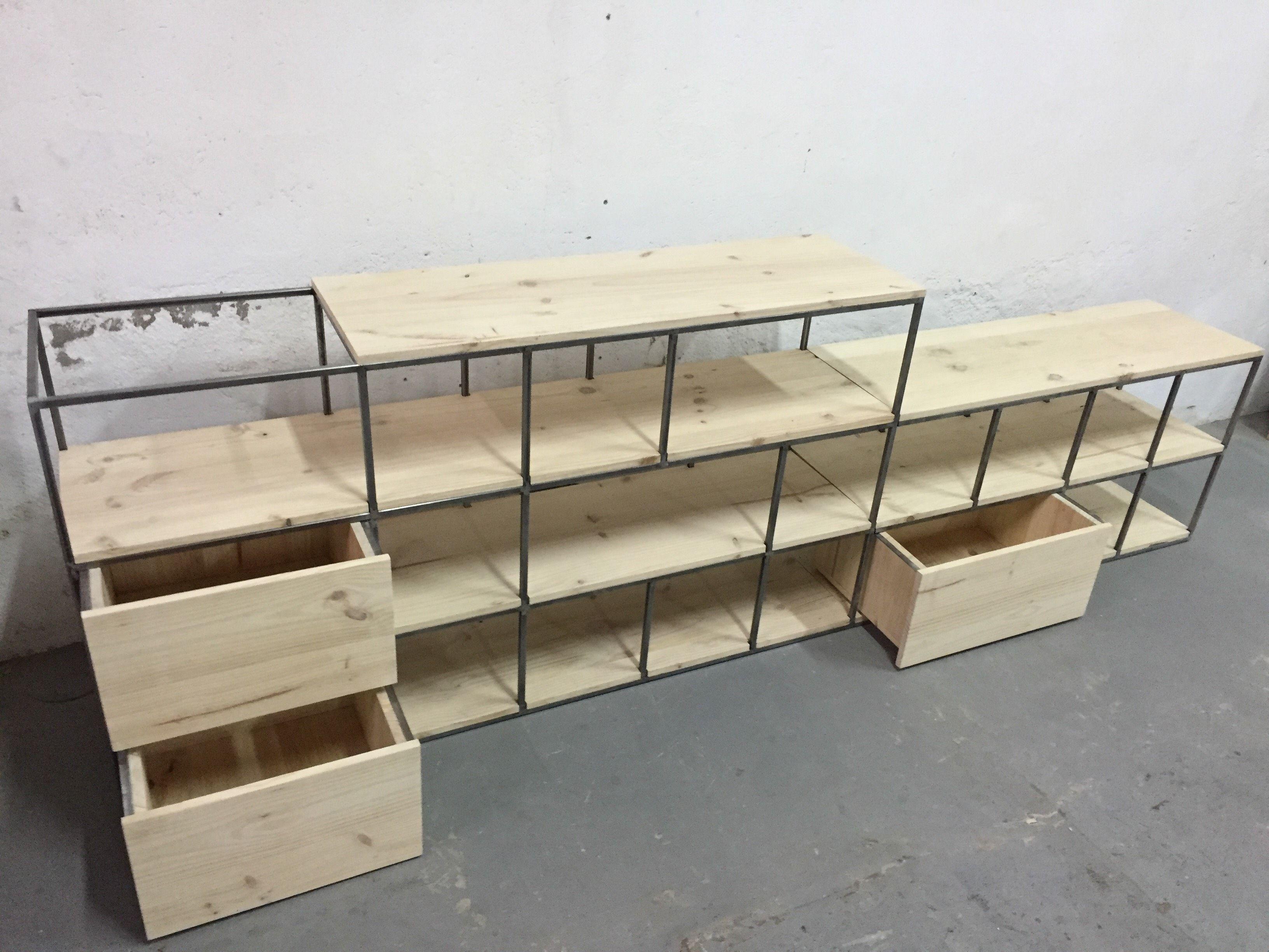 Mueble A Medida Estructura De Hierro Y Sobre En Madera De Pino  # Muebles Todo Pino