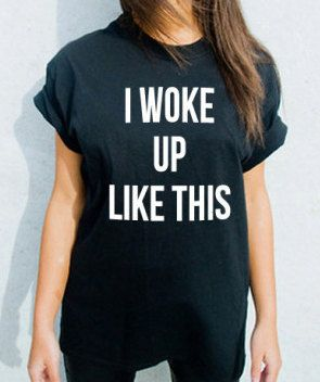 """/""""I woke up like this/"""" black lady fit T-shirt woman humour top slogan quote tee M"""