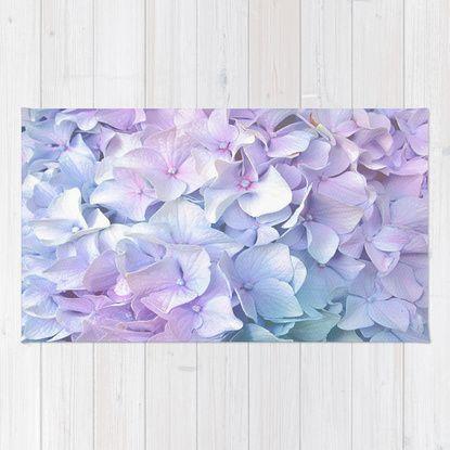 Soft Pastel Hydrangea Rug by Judy Palkimas   Society6