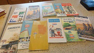 Lot of 11 Vintage Gas Station Oil Company Road Travel Maps Sinclair Enco Mobil +