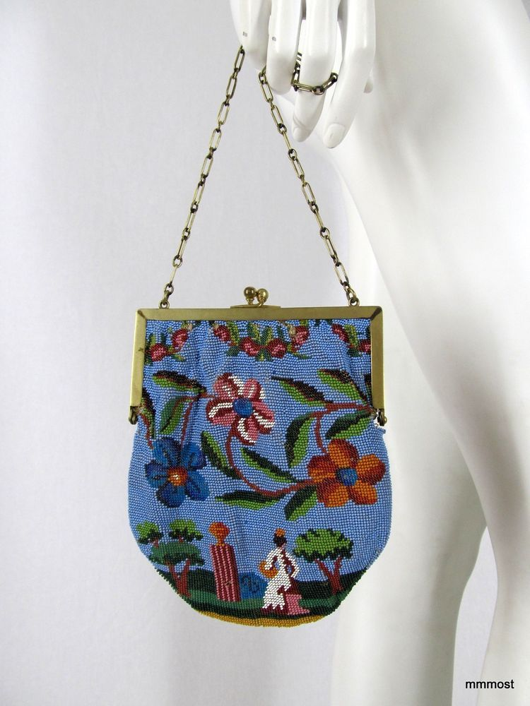 Antique Early 1900s Micro Beaded Scenic Bag Lady Sitting in Garden Brass Frame #Baguette