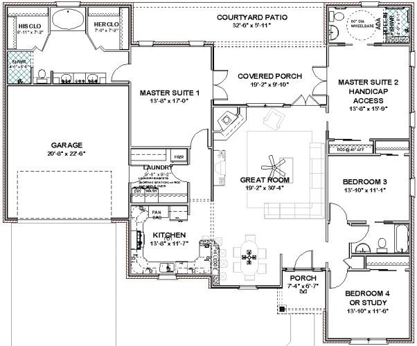 2 Master Bedroom House Plans Plans Im House Single Level House Plans House Plans One Story Master Suite Floor Plan