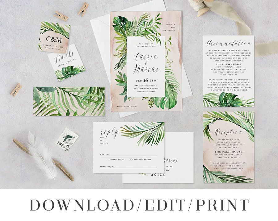 Tropical Beach Wedding Invitation Template Set Printable Hawaiian