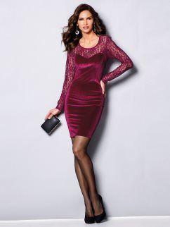 35d73bd52 Vestido fiesta manga larga terciopelo con encaje  vestido  dress woman   burdeos  fashion  venca  moda  newin  newcollection  nuevacolección  mujer   casual ...