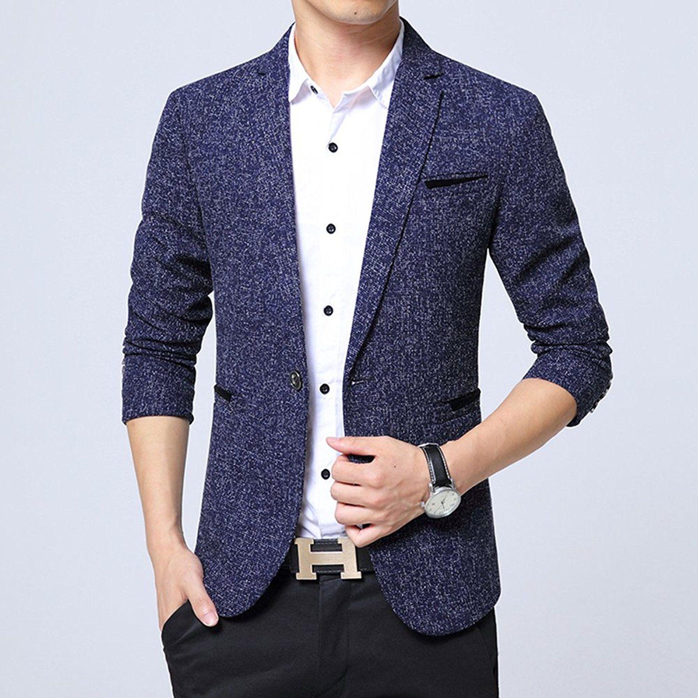 Beninos Mens Casual 1 Button Blazer Slim Fit Sport Coat Jacket