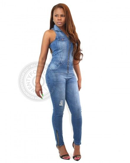 sleeveless denim jumpsuit | contemporary clothing | 7twentyfour.com