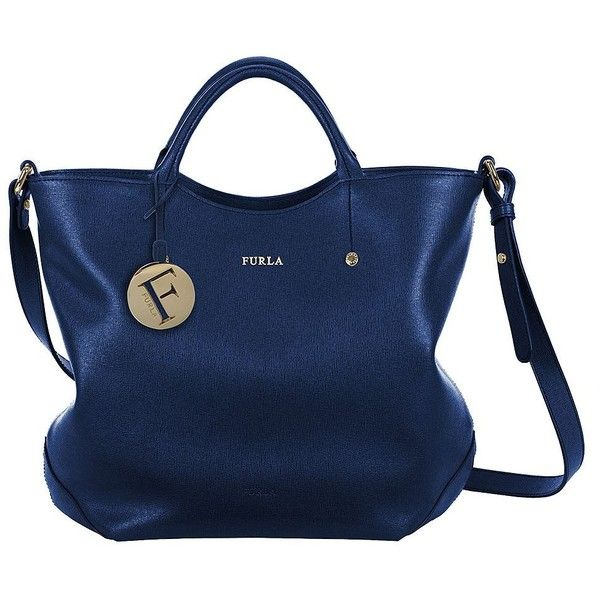 FURLA Alissa Leather North South Tote Bag (¥25,795) ❤ liked on Polyvore featuring bags, handbags, tote bags, blue, blue leather tote, metallic tote bag, metallic tote, tote handbags and leather tote handbags