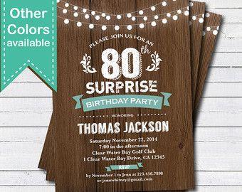 Surprise 50th Birthday Invitation Woman Man Rustic Wood