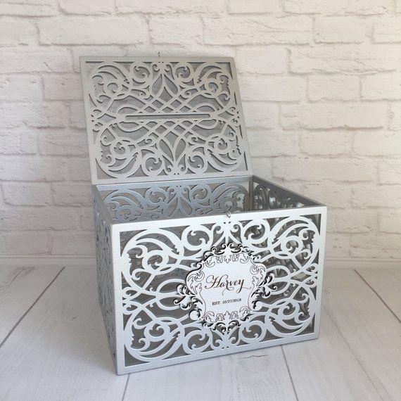 Wedding Card Box With Slot Lock Wedding Money Box Rustic