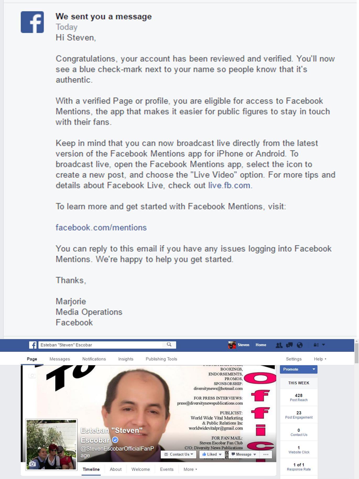 "Journalist Esteban ""Steven"" Escobar Facebook Fan page gets"