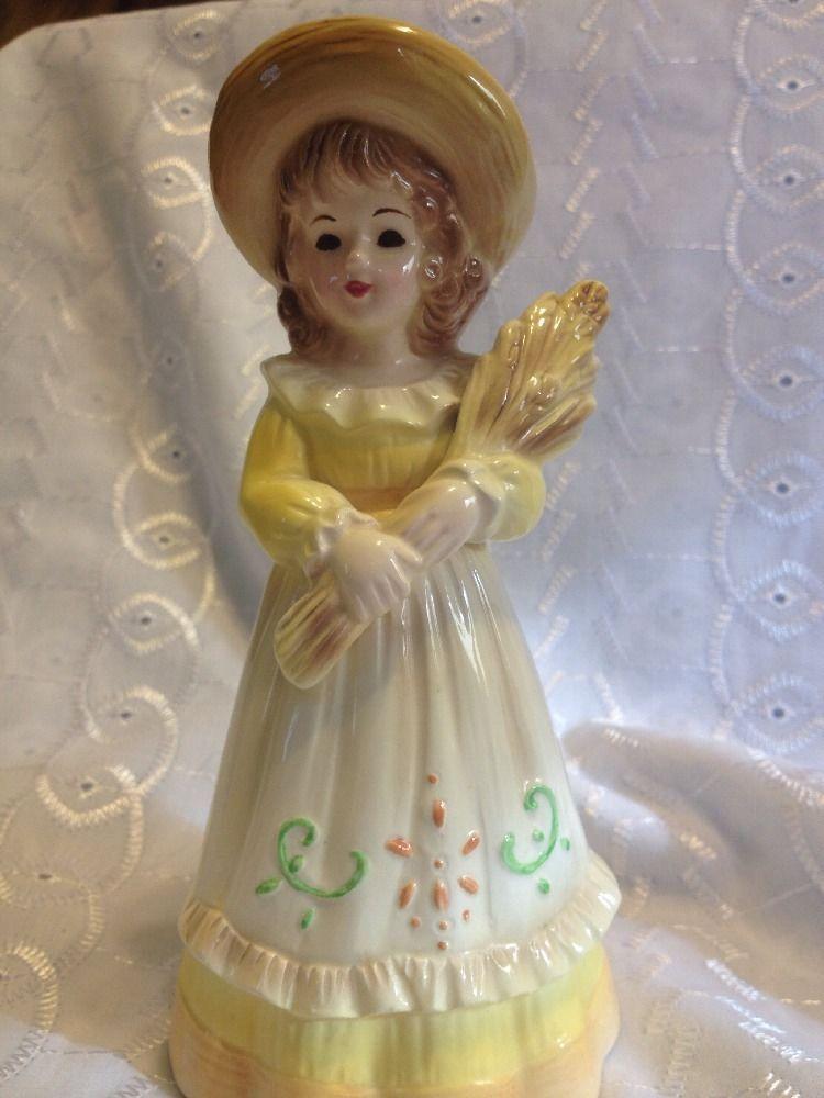 Josef Originals Figurine Girl With WHEAT IN YELLOW DRESS VINTAGE.