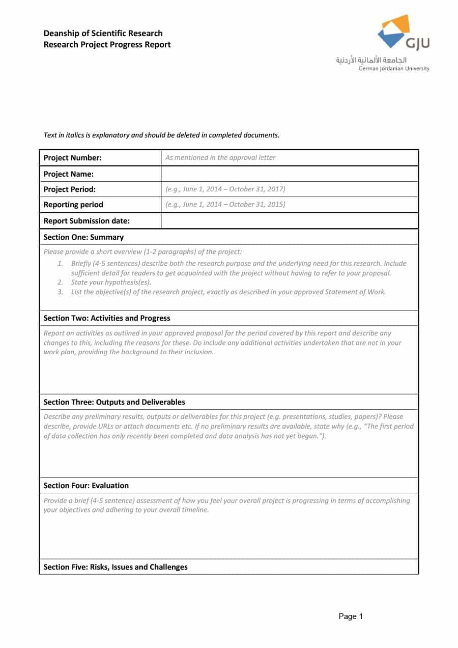 Research Project Progress Report Template Atlantaauctionco