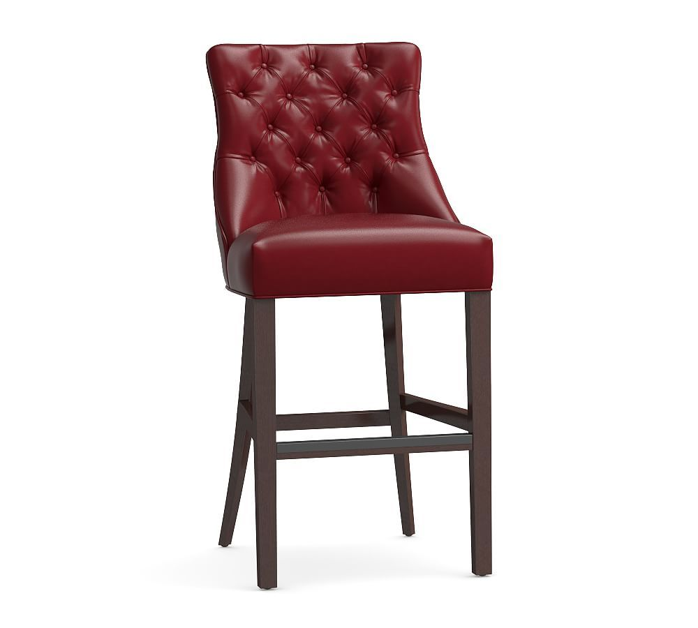 Hayes Tufted Leather Bar Counter Stools Tufted Leather Bar Stools Leather Bar Stools