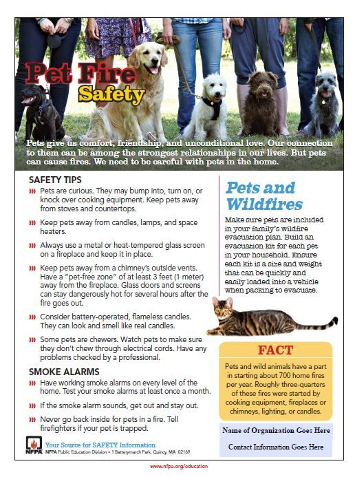Free Printable Fire Safety Tip Sheet All About Pets Pets