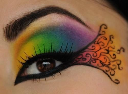 Lgbtq Pride Month 2014 Rainbow Makeup Tutorial Ideas From Pinterest 3 Jpg 500 369 Regenbogen Makeup Make Up Augen Fantasy Make Up
