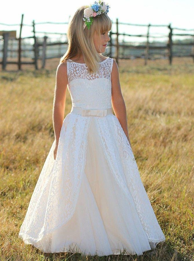 A-Linie Rundhals Weiß Spitze Blumenmädchenkleid mit