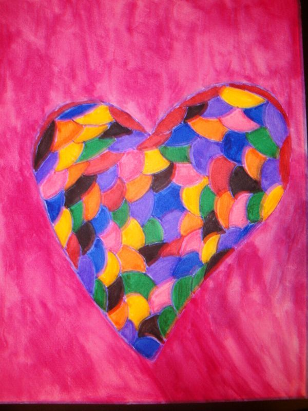 Watercolor art called Stained Glass Heart size 8x11