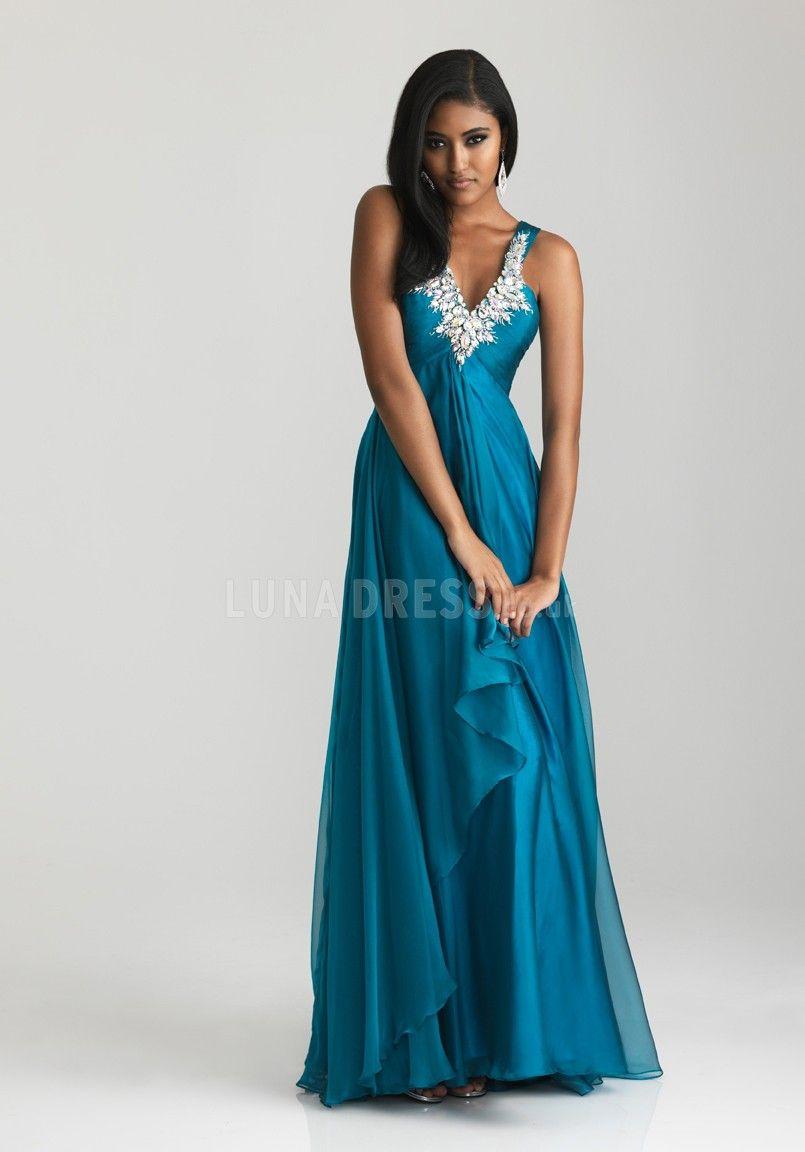Empire a line v neck sleeveless chiffon sweep train dress for prom