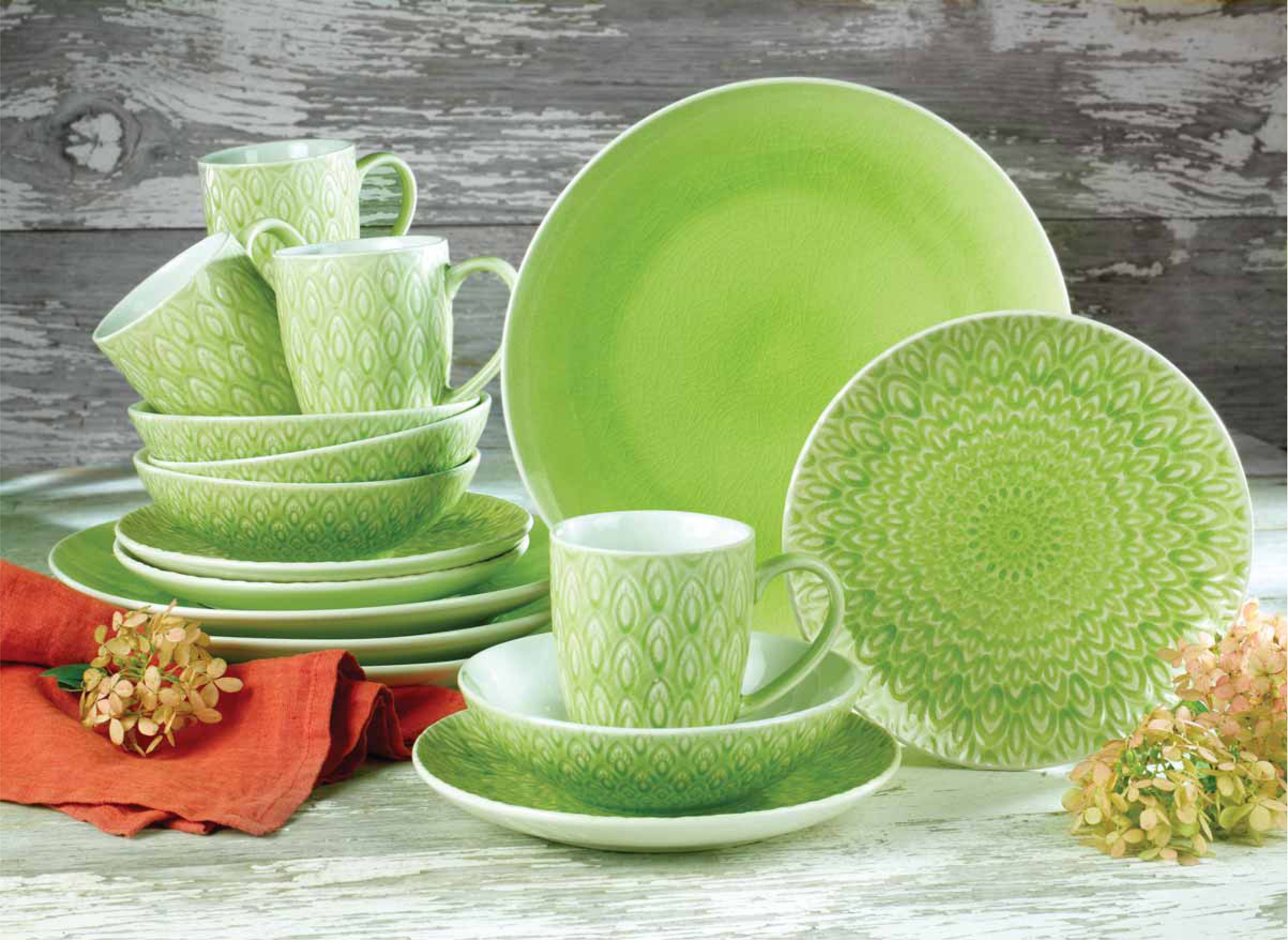 Lime Green Peacock collection by Euro Ceramica - 16 Piece Dinnerware Set : lime green dinnerware - pezcame.com