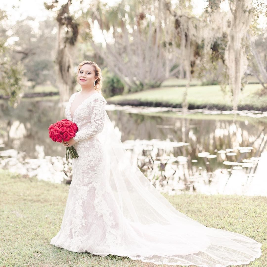 Long sleeve wedding dress topper  Davidus Bridal bride Carmen in a gorgeously romantic all over lace