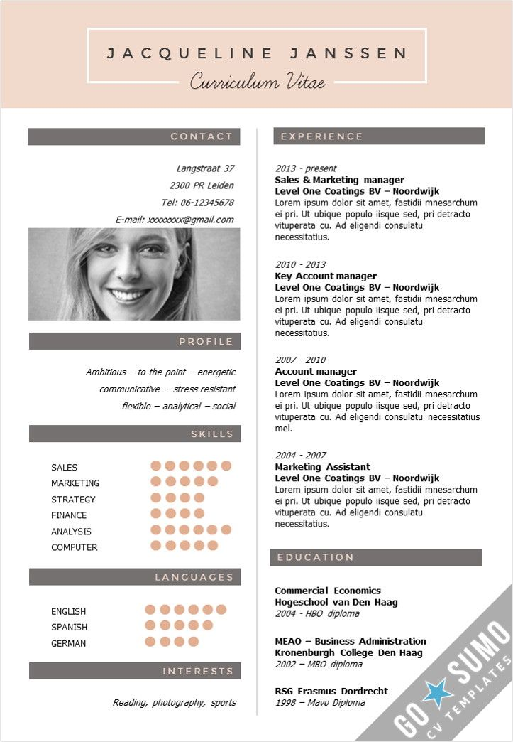 Creative cv template in Word and PowerPoint fully editable – Resume Curriculum Vitae Example
