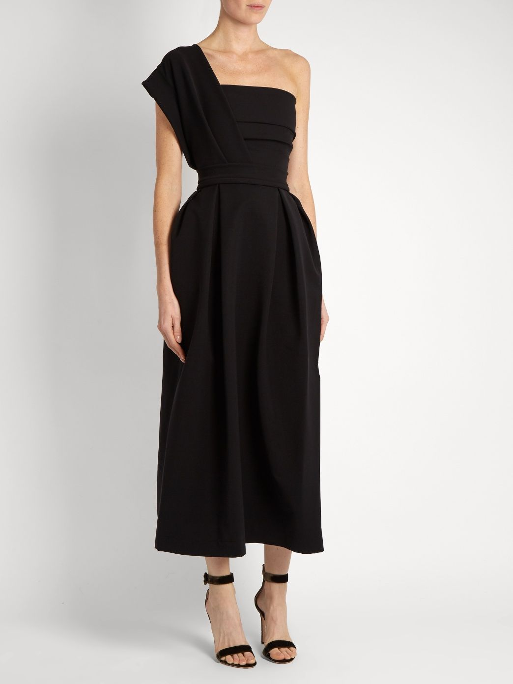 Ace one-shoulder pleated stretch-cady midi dress | Preen By Thornton Bregazzi | MATCHESFASHION.COM