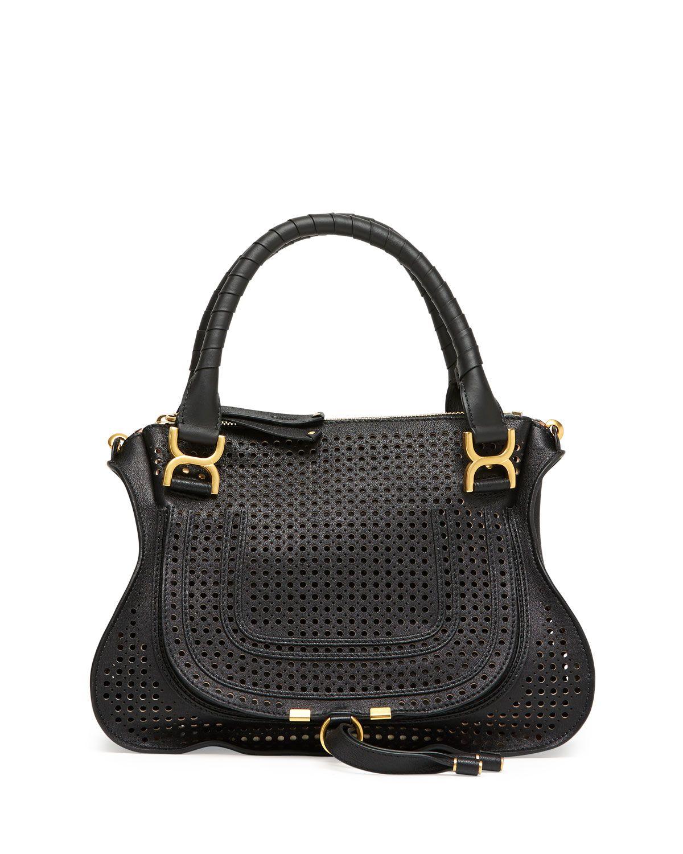 aa5133fca6c Marcie Perforated Medium Shoulder Bag Black | Bags | Bags, Chloe ...