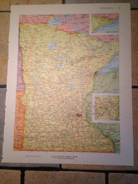 Political Map Of Minnesota Or Mississippi Antique Illustration