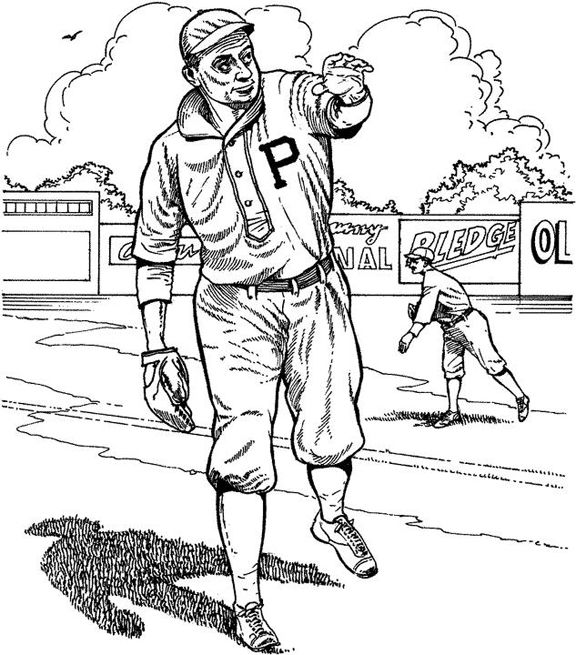 Pittsburgh Pirate Player Baseball Coloring Page Purple Kitty