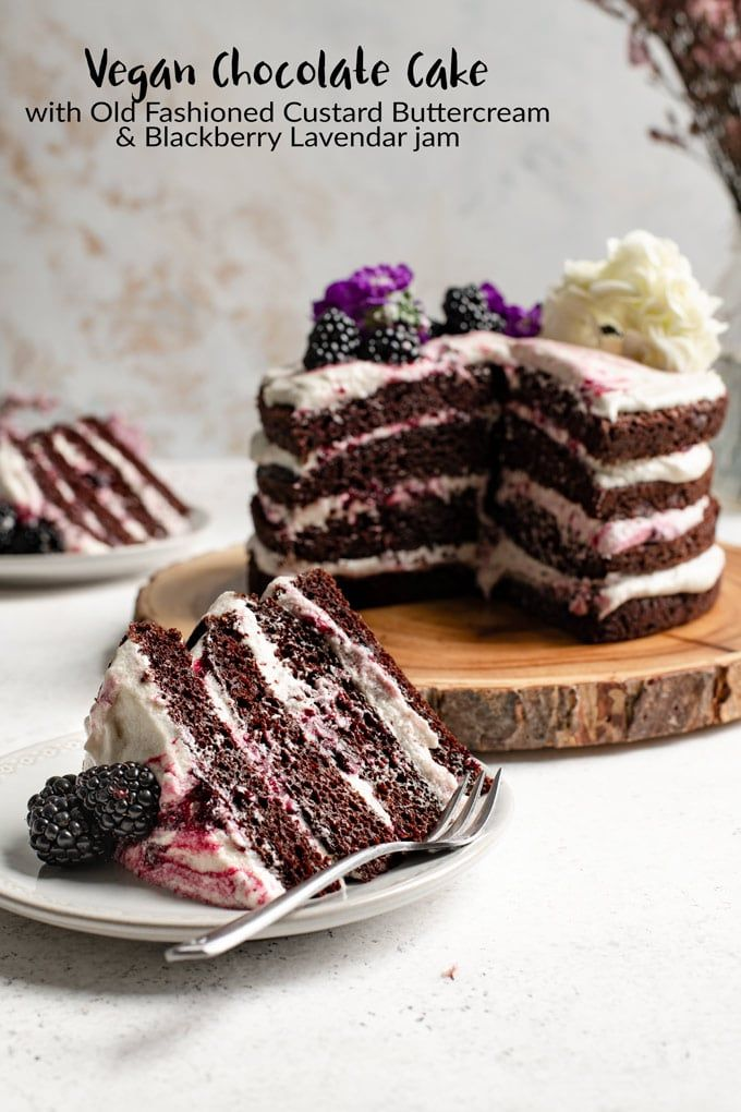 Photo of Vegan Blackberry Lavender Chocolate Cake