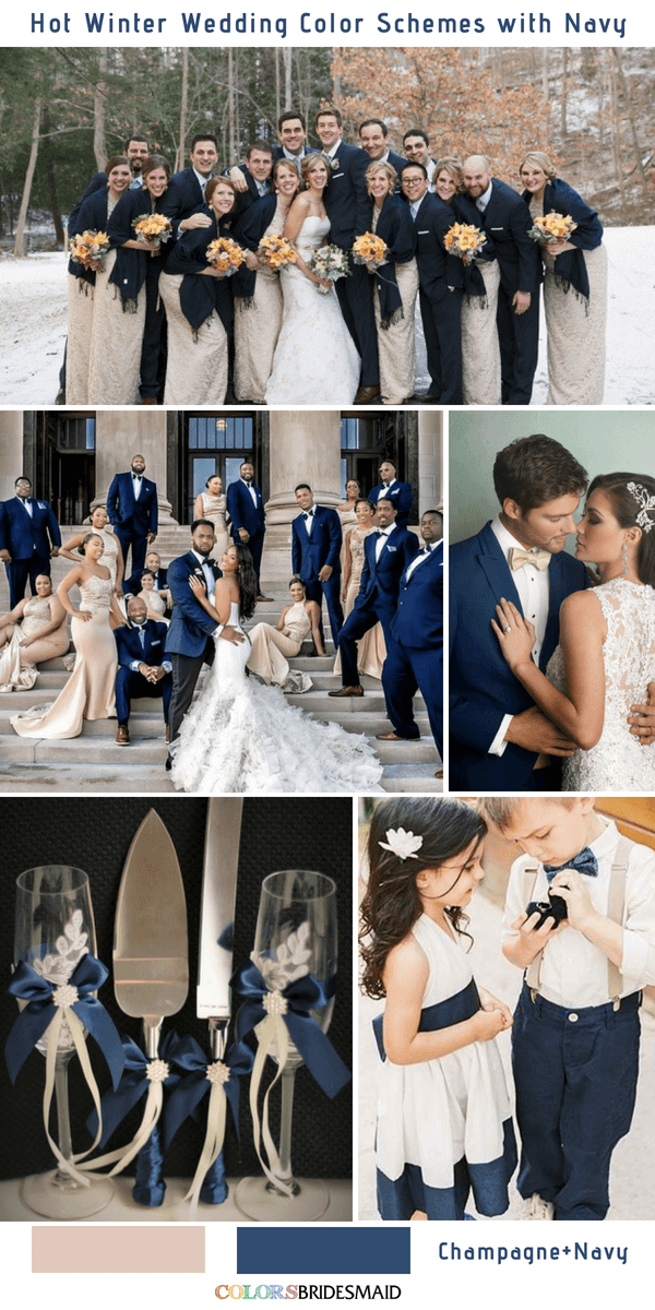 Navy Blue Winter Wedding Color Palettes