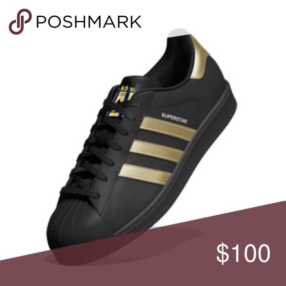 Custom made black Adidas superstar sneakers