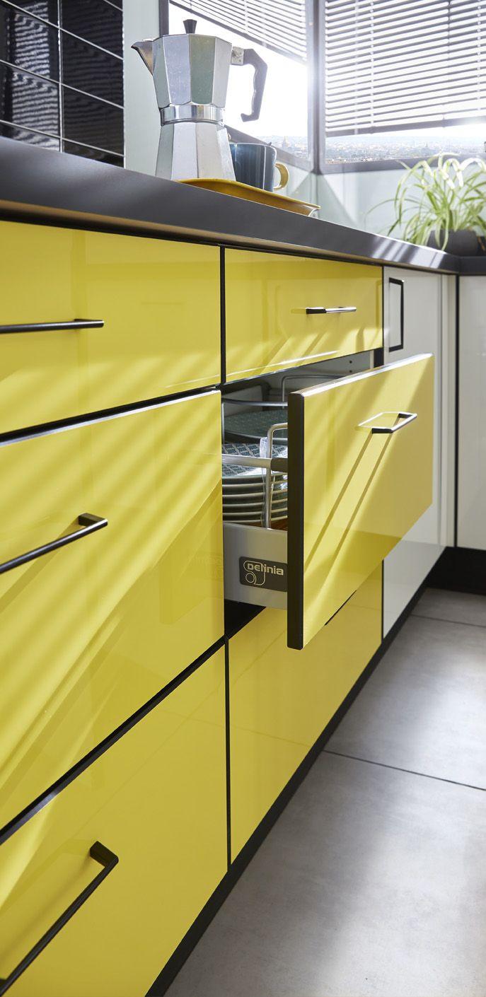 Zoom sur la cuisine pop  Cuisine moderne design, Tiroir cuisine