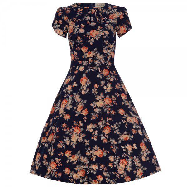 'Clarissa' Navy Floral Tea Dress