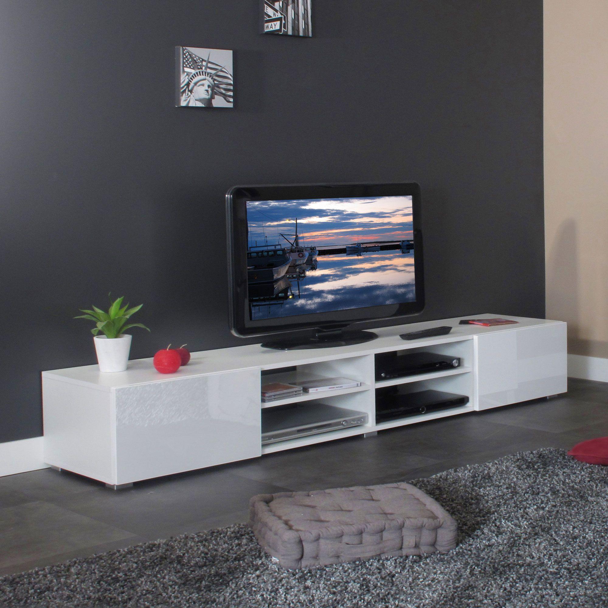 meuble tv 4 niches 2 tiroirs en bois l185xp42xh31cm glossy