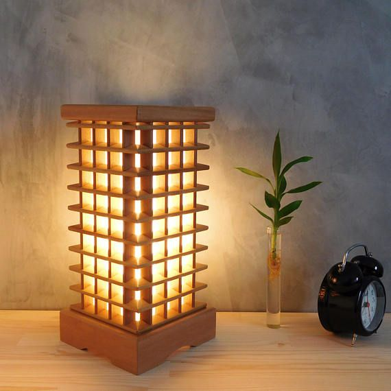 Wooden Lamp Shade Bedroom Handmade Living Room Table Lamp Etsy Unique Bedside Tables Unique Table Lamps Wooden Bedside Lamps