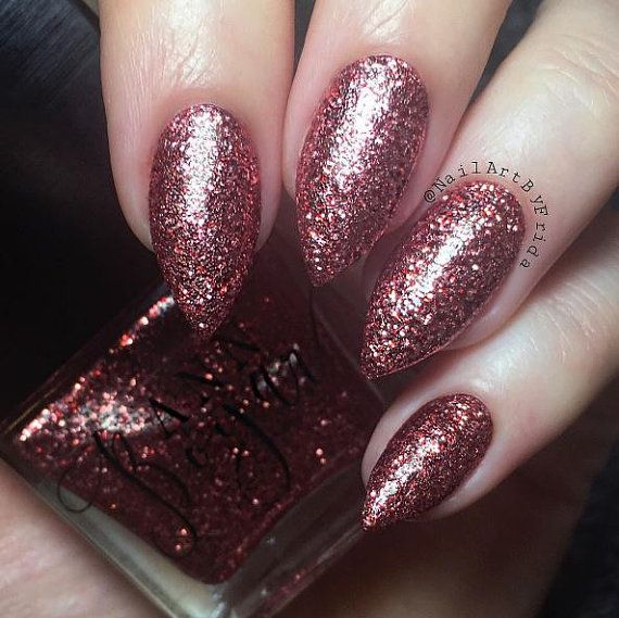Red Copper Burgundy Glitter Nail Polish 10 Free Base Vegan Nail Lacquer All Natural Makeup Red Lacquer Cruelty Free Christmas Gift Red Nails Glitter Nail Polish Red Glitter Nail Polish