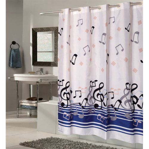 108 Wide X 75 Long Blue Note Ez On Hookless Shower Curtain