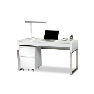 modern white lacquer desk For my Bedroom - Modern Glam