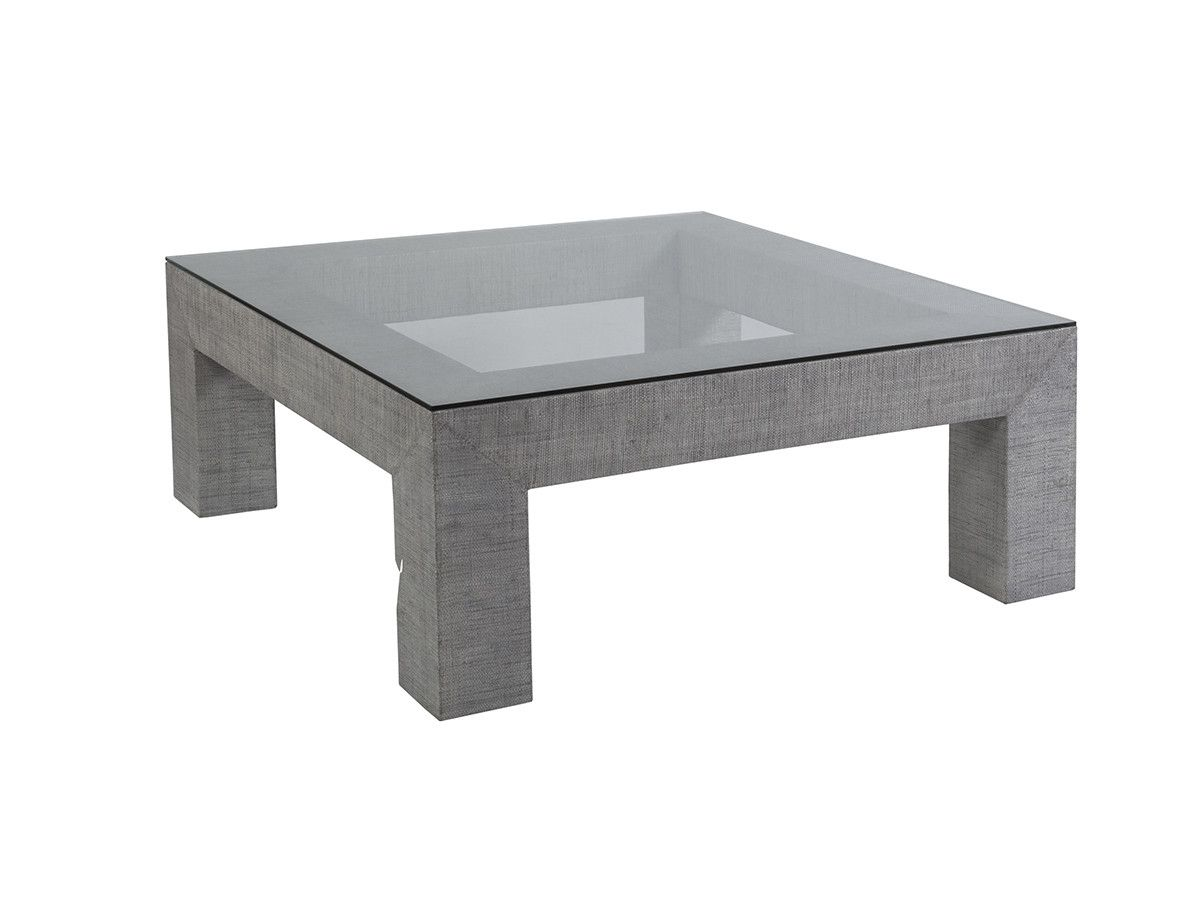 glass table top view. The Precept Square Cocktail Table Features A Light Gray Veneered Rafia Finish And Tempered Glass Top View