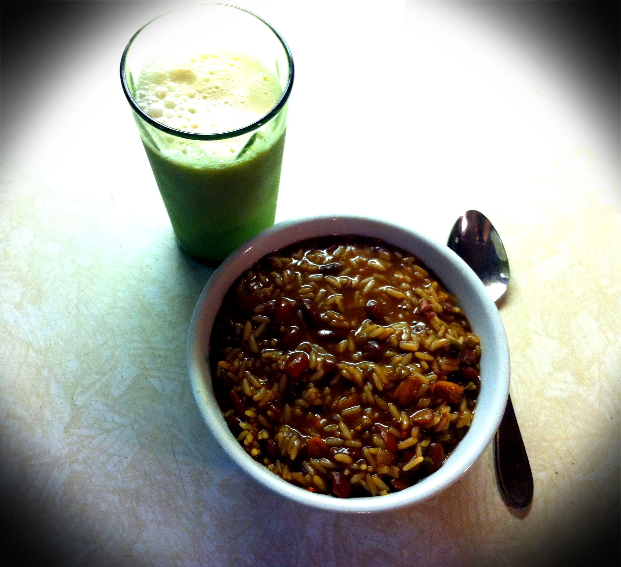 Dinner -  Glass of Vanilla Silk and Red Beans & Rice (whoah oh woah oh oh oh ohhhh)