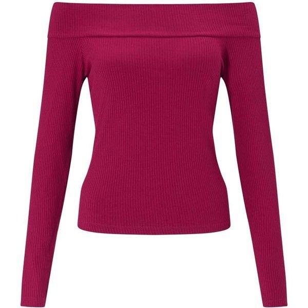 Miss Selfridge Burgundy Longsleeve Bardot Top (49 BAM) ❤ liked on Polyvore featuring tops, shirts, burgundy, long-sleeve shirt, burgundy long sleeve shirt, long sleeve shirts, purple shirt and burgundy top