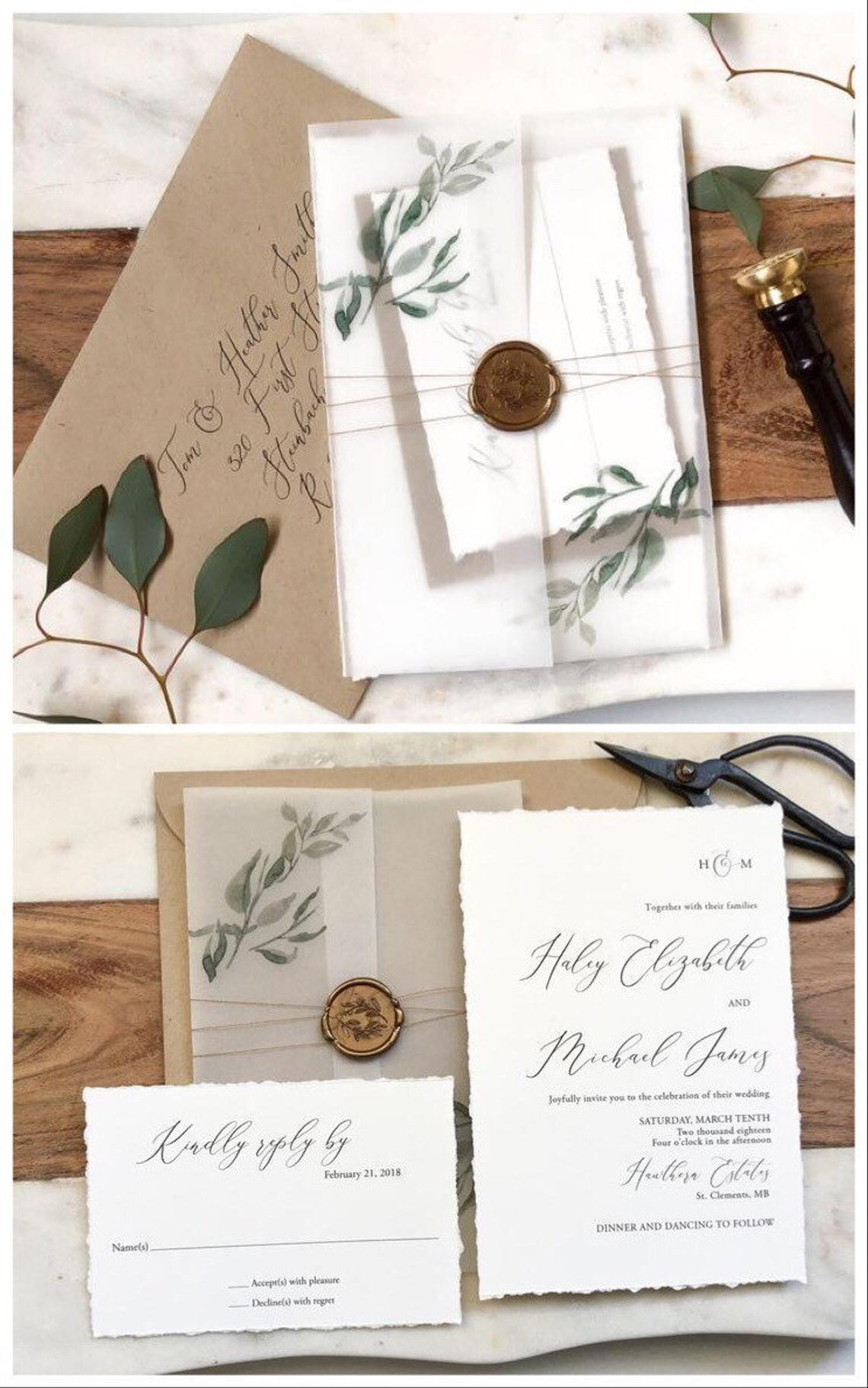 Sophisticated Modern Vellum Wedding Invitations Deposit
