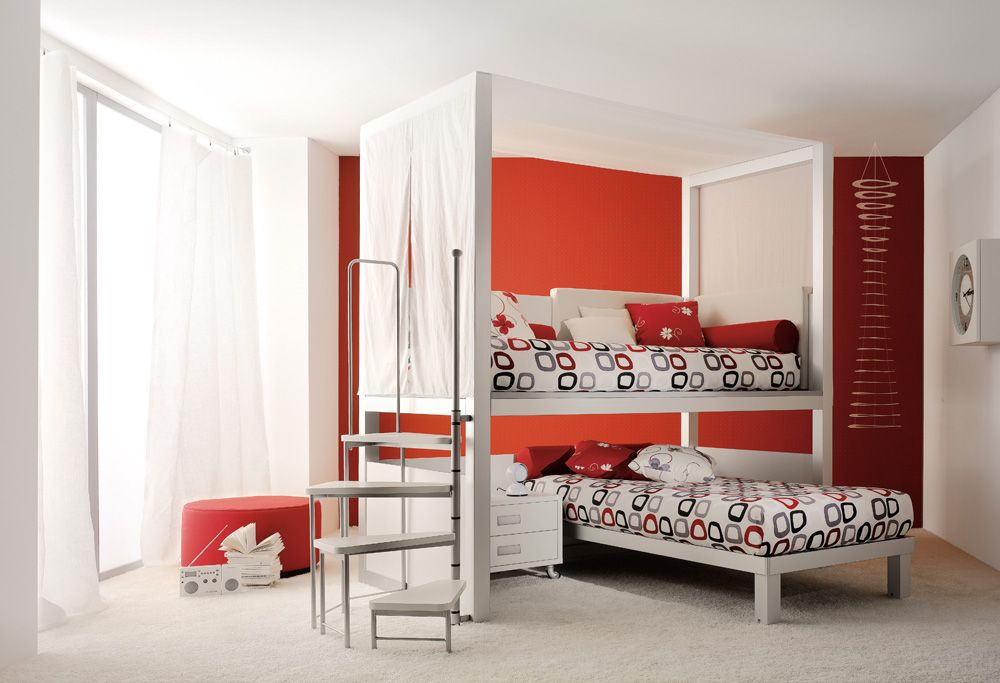 I think I would raise the top bed and put a desk and storage underneath it.