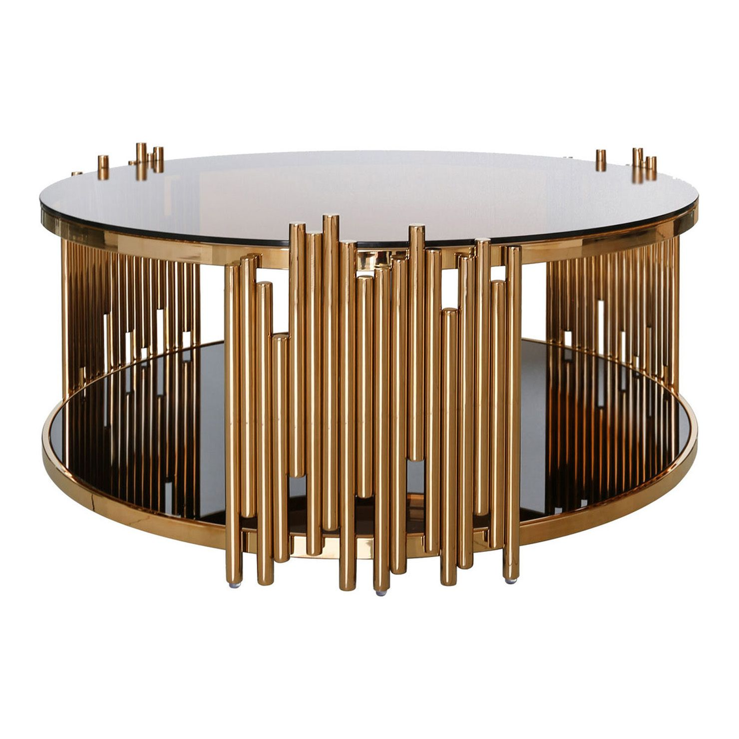 Lorenzo Round Coffee Table Rose Gold Gold Coffee Table Gold Glass Coffee Table Round Glass Coffee Table [ 1480 x 1480 Pixel ]
